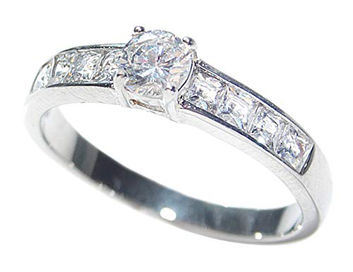 FREE ENGRAVING (I LOVE YOU) Stainless Steel Princess Cut Ring. Stamped 316. Sparkling Simulated Diamonds With A Flawless Brilliant Round Centre Stone. 3.1GR Total Weight. Excellent Quality.