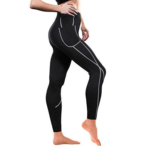 Pantalon Sauna 100% Neopreno, Leggins Reductores Adelgazantes, Leggins Anticeluliticos Cintura Alta, Mallas Fitness Push Up consigue una Sudoración efectiva en Deporte Fitness Negro (XL)