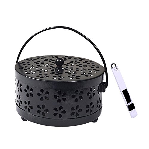 Wed2BB Mosquito Coil Holder Classical Design Portable Metal Incense Holder Black