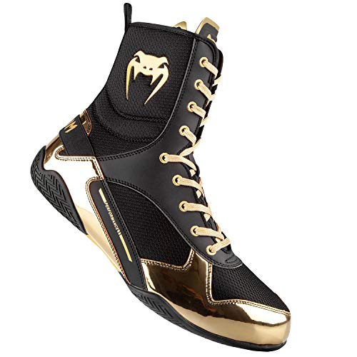 Venum Elite Boxing Shoes - Black/Gold - Size 10 (44)