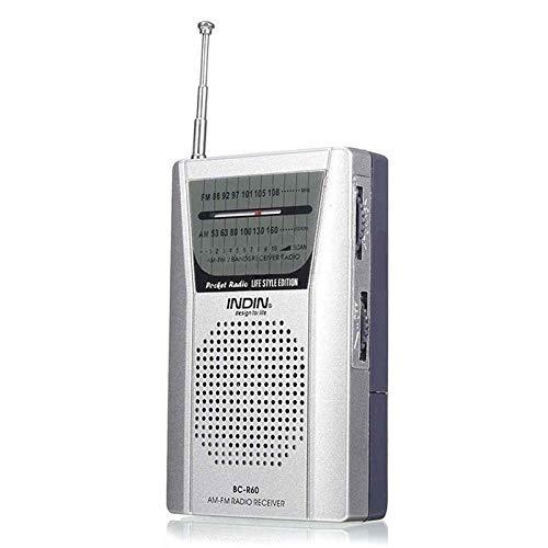 BC-R60 Pocket Portable Radio Telescopic Antenna Mini AM FM 2-Band Radio World Receiver (Silver)