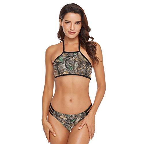 DERLONKAJE Realtree Camouflage Deer Women's Strap Side Bottom Halter Racerback Bikini Bathing Suits