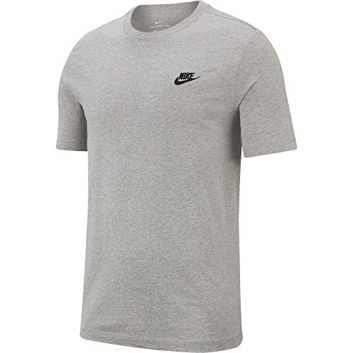 Nike Herren Sportswear Club T-Shirt, Dark Grey Heather/Black, S