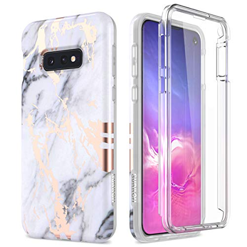SURITCH Case for Galaxy S10e,[Built-in Screen Protector] Rose Gold Marble Shockproof Rugged Cover for Samsung Galaxy S10e 5.8 Inch (Gold Marble)