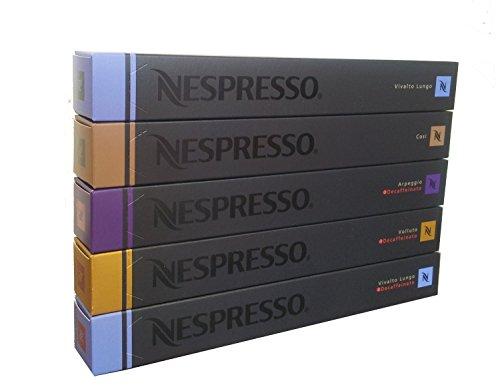 Nespresso Mix 50 Sorte: Decaf Arpeggio, Vivalto Decaf, Decaf Volluto, Cosi, Vivalto