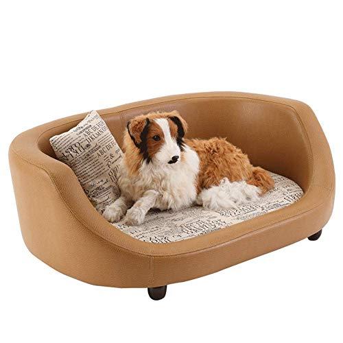GBY hondenbed, knipper hondensofa, massief PU-leer, uitneembaar en wasbaar vierseizoenen universeel dierennest voor kleine en middelgrote honden en katten, 940 x 670 x 340 mm