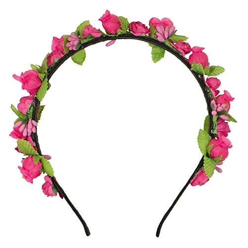 Trachtenland Blumen Haarreif Liliana mit Rosen - Pink