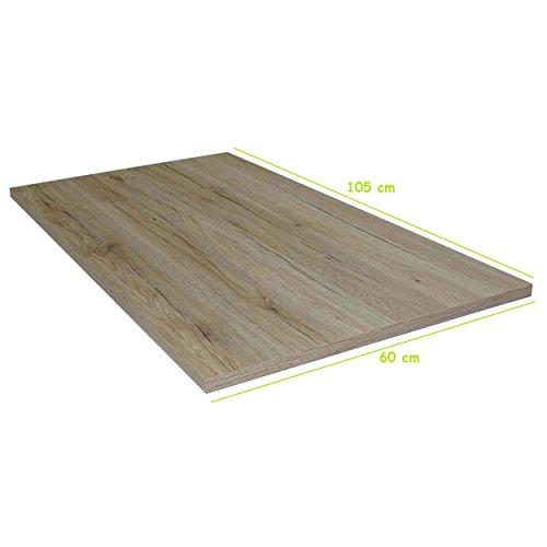 Tischplatte aus Holz für Schreibtische - Holzplatte perfekt geeignet für Schreibtisch, Couchtisch/Esstisch - Verschiedene Größen & Farben (105x60cm, San Remo Eiche)