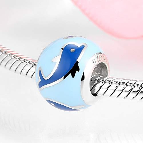 ZSCZQ Abalorios de Plata de Ley 925, Bonito bebé delfín, Forma Redonda, Esmalte Azul, Ajuste Original, Pulsera con dijes, fabricación de Joyas