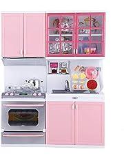 Mini-keukenspeelset, modern roze keukensimulatiespeelgoed Chef-kok Pretend Rollenspel speelgoedset met licht en geluid Oven en gootsteen, ander keukengerei voor meisjes en jongens