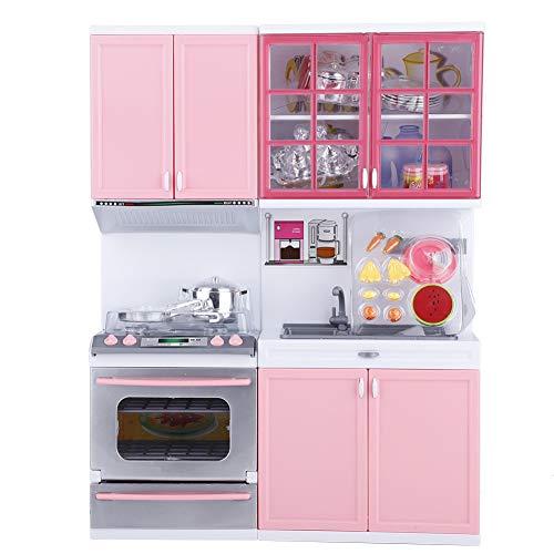 SOULONG Juego de Utensilios de Cocina Mini Modern Kitchen Set, Color Rosa, Juego de Cocina con Luces y diseño de Sonido para niños y niñas