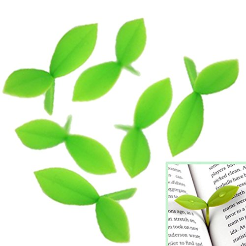 Vi.yo 6 Pieces Creative Little Bookmarks Silicone Buds Small Grass Cute Book Mark Decoration(Green)