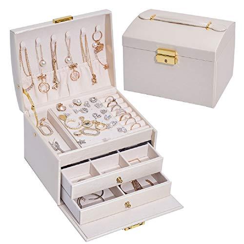Joyero con cerradura, pequeño maletín de joyas con 2 cajones y 3 capas, almacenamiento joyas para reloj, collar, anillo, pulsera, idea regalo (blanco)