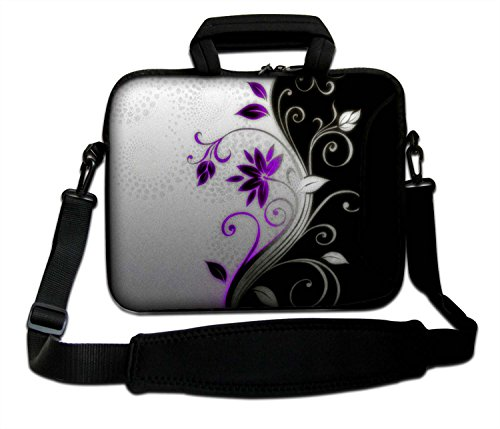 Ektor Ltd, weiche Notebook-Tasche mit Griff und Schultergurt für Apple MacBook Air, MacBook, MacBook Pro, MacBook Pro Retina, MacBook Aluminium, Unibody, iBook, PowerBook, tolles Design Gr. 36 cm (260 x 360 mm), Blumen/Blätter