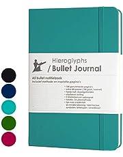 Hieroglyphs Bullet Journal/notitieboek A5 dotted - met Nederlandstalige methode - genummerde pagina's, opbergvak, drie leeswijzers, elastieken sluiting (lichtblauw)