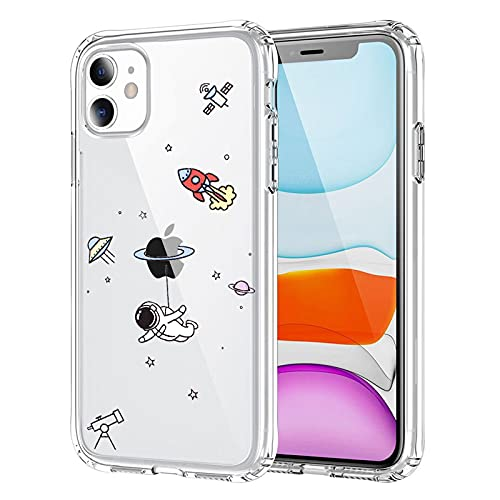 NITITOP Compatible with iPhone 11 Case Clear Cute with Astronaut Outer Space Planet Star Creative Pattern,Soft TPU Shockproof Slim for iPhone 11-Fly