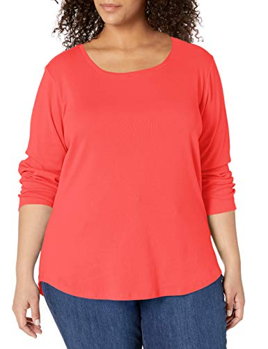 Ruby Rd. Women's Plus Size Scoop Neck Ribbed Knit Top, Coral, 2X