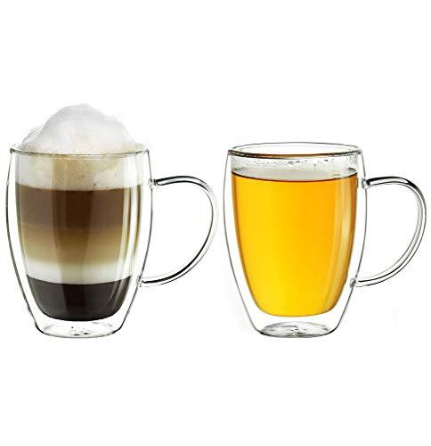 Creano doppelwandiges Thermoglas mit Henkel 250ml, großes Doppelwandglas aus Borosilikatglas, Kaffee-/Teeglas, 2er Set