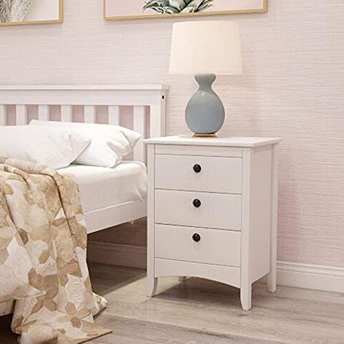ENticerowts Multifunctional Bedside Storage Cabinet Stylish White MDF Cabinet with 3 Drawers Home Living Room Bedroom Decoration White