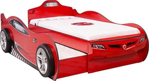 Froschkönig24 Cilek Coupe Autobett Kinderbett Bett Ausziehbett Rennfahrerbett Rot, Matratzen Oben/unten:mit 2X Matratze