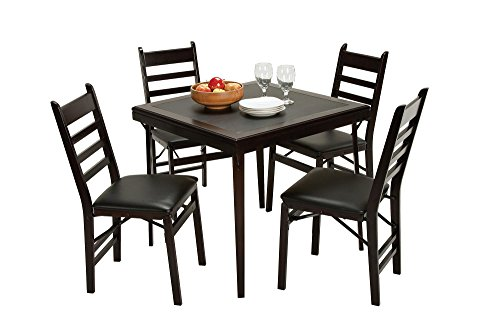 Cosco Folding Espresso Wood Table Square with Vinyl Inset Espresso Black (Table Only)