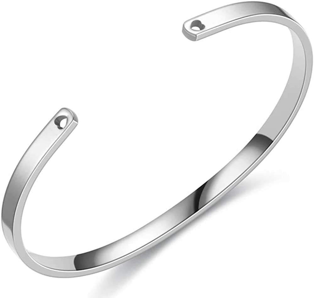 Jude Jewelers 4mm Stainless Steel Classical Simple Plain Stacking Open Cuff Bangle Bracelet