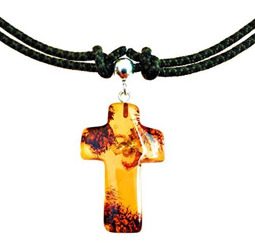 AmberConnections echt Bernstein Kreuz Anhänger mit 925 Silberschlaufe und Paracord Halsband