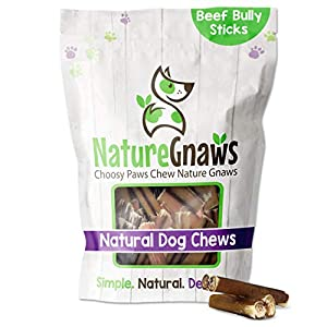 Nature Gnaws Bully Sticks for Dogs – Premium Natural Tasty Beef Bones – Simple Long Lasting Dog Chew Treats – Rawhide Free – 2-3 Inch Bites (8 oz) – Mixed Thickness