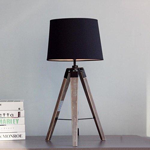 & leeslamp, Scandinavisch, minimalistisch, Loft, industriële stijl, van massief hout, driepoot, tafellamp, decoratief, zwart