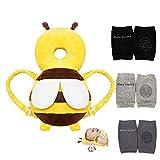 Feidoog Baby Head Protector Cushion Backpack with 3 Baby Knee Pads for Walking & Crawling,Bee