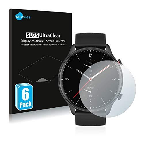 Preisvergleich Produktbild Savvies 6X Schutzfolie kompatibel mit Huami Amazfit GTR 2 Displayschutz-Folie Ultra-transparent