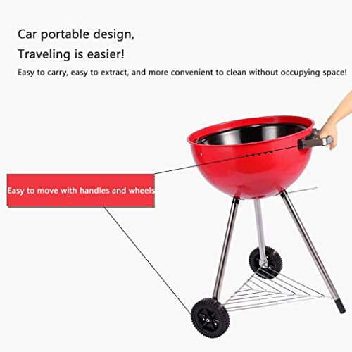 41GrlFPkInL. SL500  - M-YN Tragbarer Holzkohlegrill Edelstahl Barbecue Grill Smoker Holzkohlegrill for Camping Picknick im Freien Garten-Party Grill BBQ, (Color : Red)