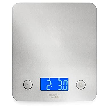Smart Weigh 11 pounds or 5 kilograms Digital Multifunction Food and Kitchen Scale, Stainless Steel