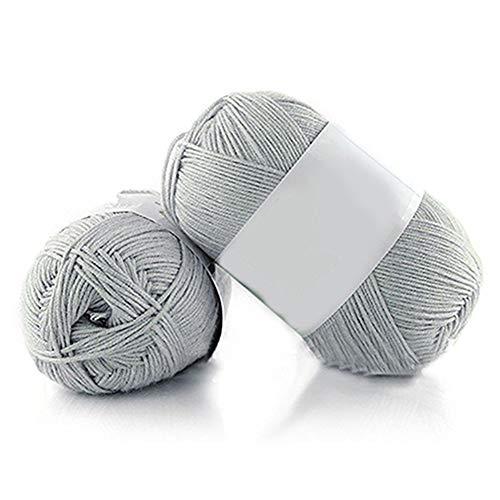 Geshiglobal – Ovillo de lana de bambú supersuave, transpirable, para tejer a mano, 50 g, para...