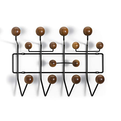 ZRSZ Modernes Wandgaderobe | Bunten Kugeln Garderobe Saturnus Bälle Kleiderhaken,Kleiderständer Hang,mit 14 Haken 50CM*16CM (Schwarz| Dunkles Holz| Farbe)