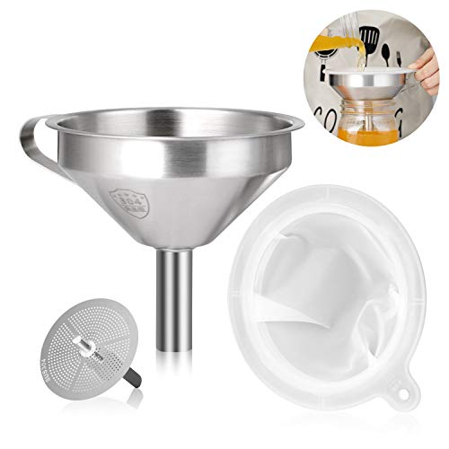 AIEVE Edelstahl Trichter und 200 Mesh Filter Set Einmachtrichter Einfülltrichter Küchentrichter mit Abnehmbares Sieb und Henkel für die Übertragung von Öl Flüssigkeit Pulver Zutaten