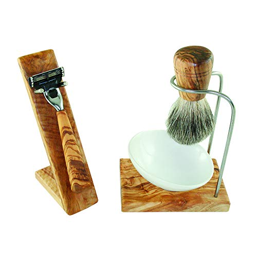 Design Luxus Rasierset 5teilig - aus wunderschön gemasertem Olivenholz - Ständer, Schale aus Porzellan, Rasierer, Rasierpinsel Echthaar - Echtholz Set
