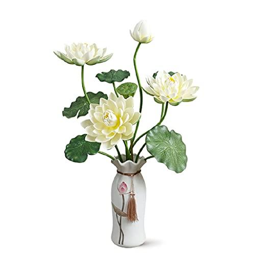 DIWA Lotus Flores Artificiales, Flor Falsa con jarrones, Flor de Estilo Chino plástico para Sala Budista/adoración/decoración (Color : White)