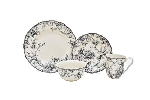 222 Fifth Adelaide 16-Piece Porcelain Dinnerware Set with Round Plates, Bowls, and Mugs, Gray