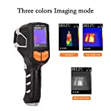 ETE ETMATE Cámara termográfica de luz roja 300,000 HD Pixel Cámara de mano Rango de medición -20 ℃ ~ + 1000 ℃ Frío Hot Spot Seguimiento automático Pantalla LCD a color de 2.4 pulgadas