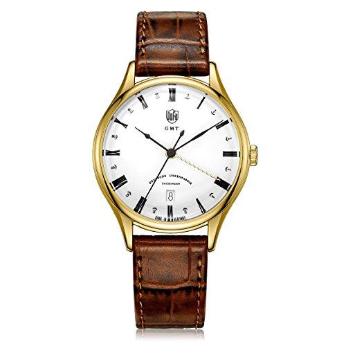 DuFa Unisex Analog Quarz Uhr mit Leder Armband DF-9006-03