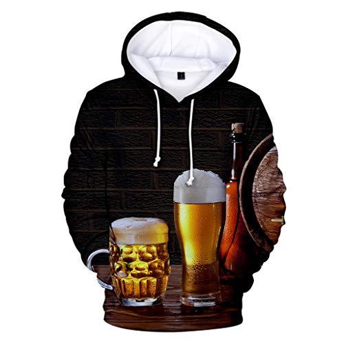 VANMO Herren Strickjacken,Oktoberfest Outfit 2020 Neu Herren Beiläufiges langärmliges Bier Festival neues Drucken Kapuzenpulli Sweatshirt der Art-3D Mode Prost Lässiges Kurzarm-T-Shirt Weich Bequem