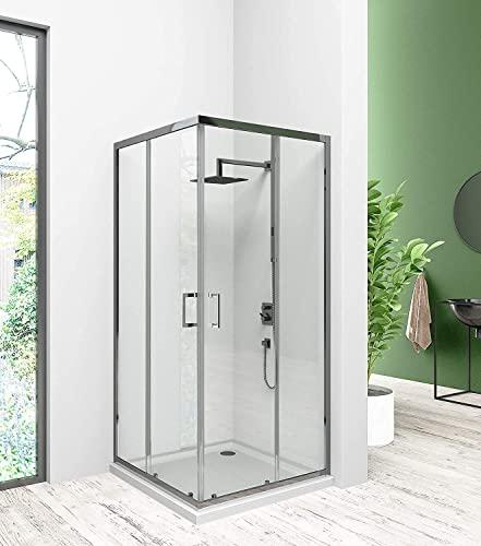 B.D Duschabtrennung,Eckeinstieg Duschkabine, Schiebetür Duschwand,Duschabtrennung-glas,  80x80x185 Bild