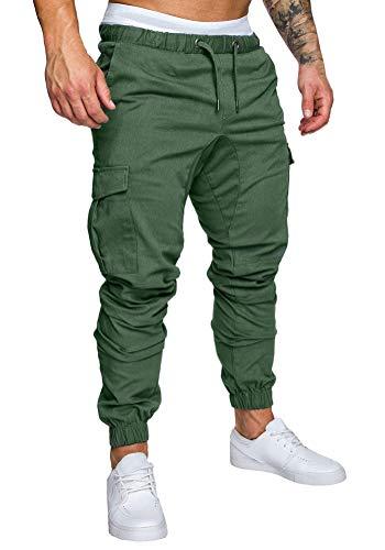 Minetom Pantaloni Uomo Moda Cargo con Coulisse E Tasche Laterali Trousers Sport Pants Elastici Casuale Maschi Primavera Autunno Verde Medium