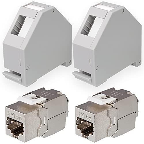 hb-digital Set: 2X Cat.6a Keystone Modul RJ45 + 2X Hutschienenadapter Keystone-Halterung für Hutschiene 35mm Standard | RJ35-Jack geschirmt werkzeuglose Montage Ethernet LAN Netzwerk STP LSA