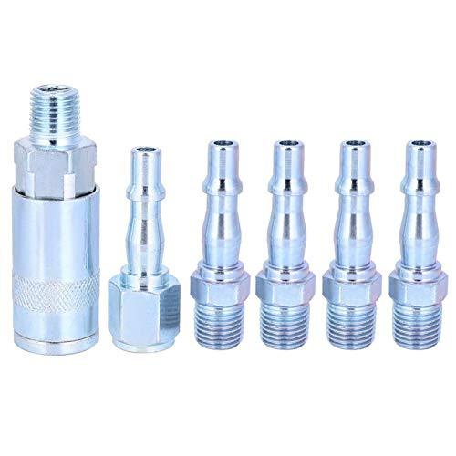 Kit de adaptador de conexión rápida de manguera de aire BSP de 6 piezas 1/4 pulgadas, conector hembra/macho de rosca externa, conector macho de rosca interna(1/4')