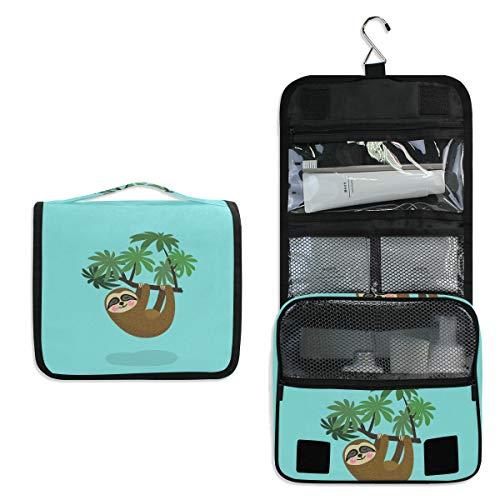 Süßes Faultier mit Baum zum Aufhängen, Kulturbeutel, multifunktional, Kosmetiktasche für Frauen, Mädchen, Reisen, Make-up-Tasche, Aufbewahrungstasche, tragbare Kulturtasche