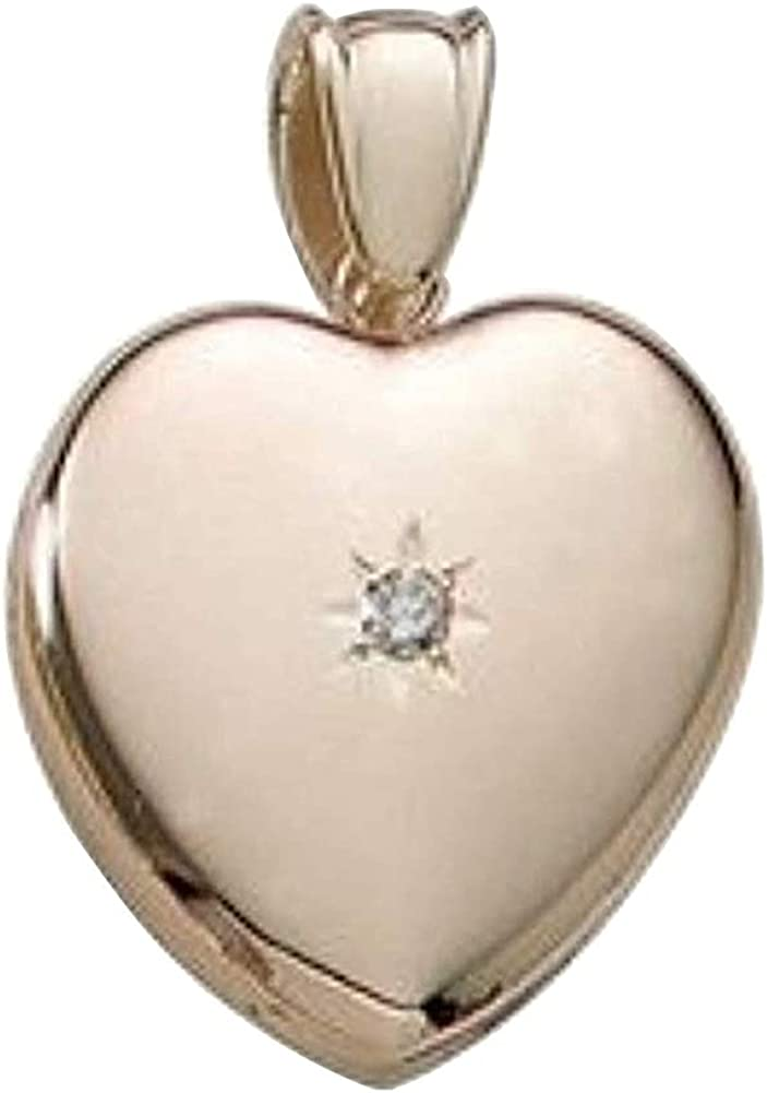 Solid 14k Premium Weight Yellow cheap Gold Diamond Pict W Center Jacksonville Mall Heart