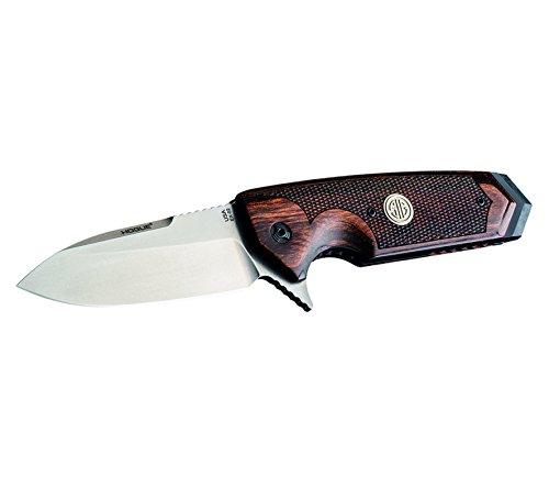 Hogue Messer von SIG Sauer gefertigt Linerlock Klinge 154CM Flipper SIG Emblem Walnuß Griffschale Umsetzbarer Clip EX-02 Griffmaterial: Walnussholz im Pistolen Design Allen Elishewitz