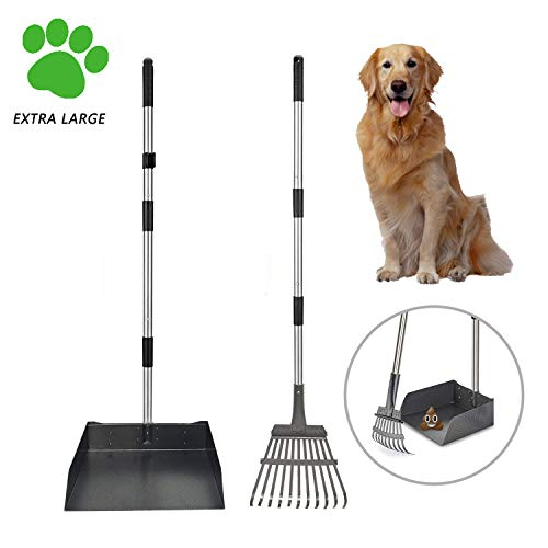 SUNLAX Pet Pooper Scooper for Large Dog, Height Adjustable Poop Scoop Removal Picker with Long Handle Extra Large Tray - Easy to Wash